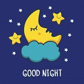 stock photo of moon stars  - Funny sketching sleeping moon and smiling stars - JPG