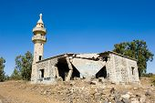 pic of golan-heights  - Remains of a mosque destroyed in the yom kippur war on the Golan Heights in Israel - JPG