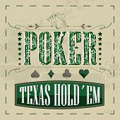 image of texas star  - Texas holdem poker retro background for vintage design - JPG