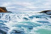 foto of southwest  - Gullfoss waterfall located in the canyon of Hvita river in southwest Iceland - JPG