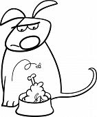 stock photo of nasty  - Black and White Cartoon Illustration of Funny Disgusted Dog with Bowl of Nasty Food for Coloring Book - JPG