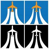 pic of aeroplane symbol  - stylized illustration of airplane climbs - JPG