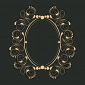 stock photo of oval  - Beautiful floral design decorated blank frame in oval shape - JPG