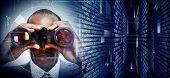foto of binoculars  - Black Man with binoculars on techno background - JPG