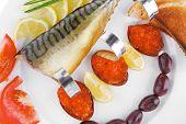 stock photo of plate fish food  - diet food  - JPG