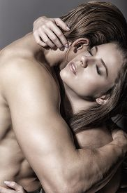 pic of intimate  - Young beautiful couple in each other - JPG