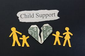 picture of divorce-papers  - paper family with broken money heart and Child Support text - JPG