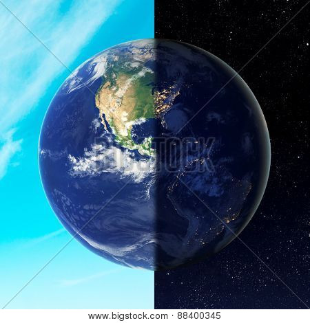 Day and night on earth. Elements of this image furnished by NASA