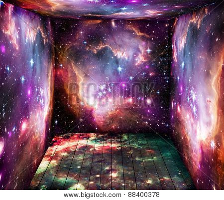 The room with space universe around. Elements of this image furnished by NASA