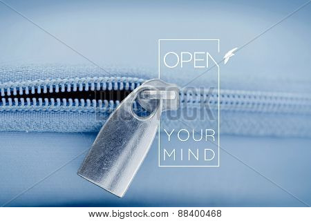 Open Mind Quote Concept Macro Zipper Background