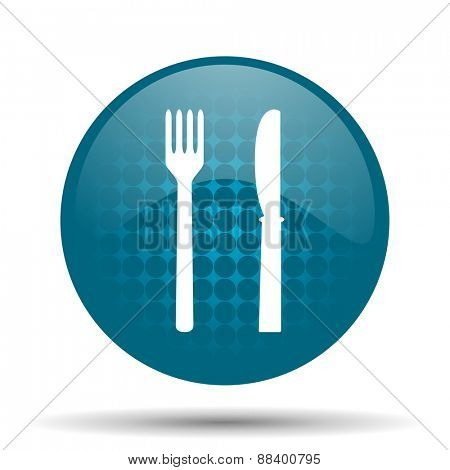 eat blue glossy web icon