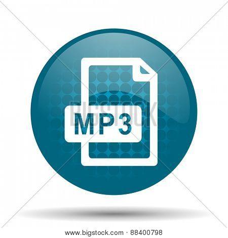 mp3 file blue glossy web icon