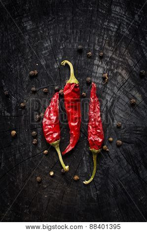 Hot Red Pepper And Black Pepper