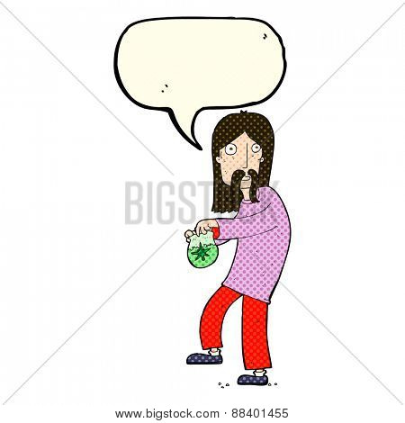 cartoon hippie man with bag of weed with speech bubble