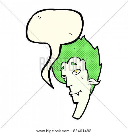 cartoon vampire head with speech bubble