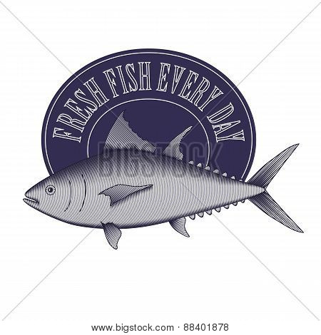 Engrave Style Vintage Logo Of Fish Store, Market Etc.