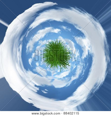 Abstract grassy globe with swirled clouds