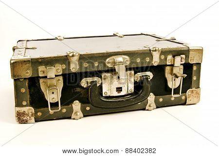 Vintage Battered Old Suitcase On White