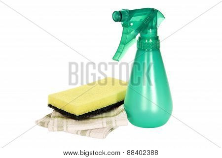 Green Spray Bottle For Cleaning With Sponge