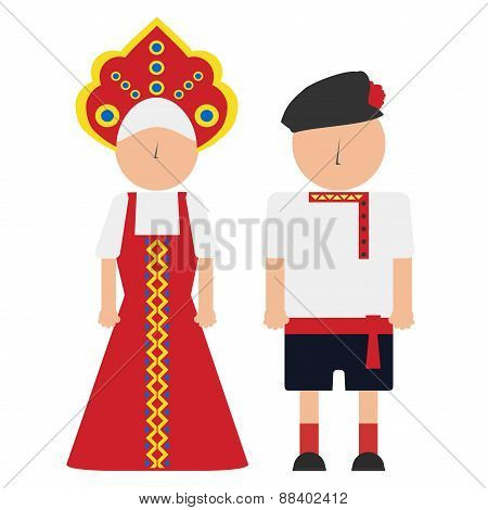 vector illustration of a russian man and woman in the national costumes
