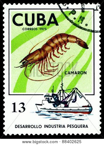 Vintage  Postage Stamp. Prawn.