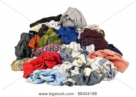 Huge Pile Of Dirty Laundry On White