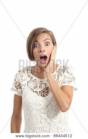 Shocked Or Surprised Woman With A Hand On Face Expressing Wow