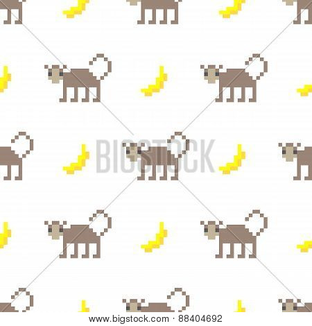 Cute pixel art monkey and banana seamless pattern