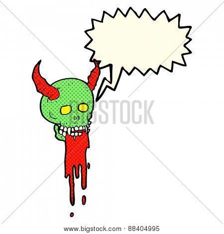 cartoon spooky halloween skull with speech bubble