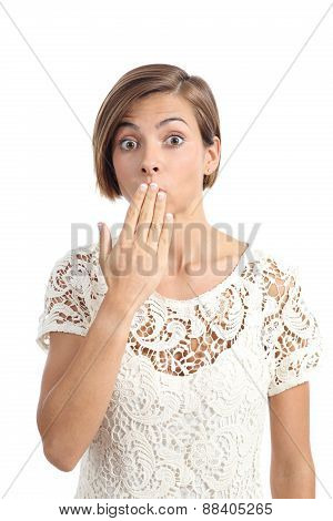 Woman In Trouble Gesturing Oops With A Hand On Mouth