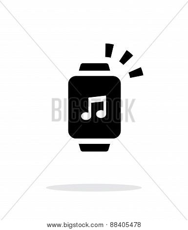 Outgoing sound from smart watch simple icon on white background.