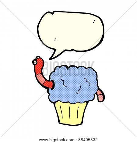 cartoon worm in cupcake with speech bubble