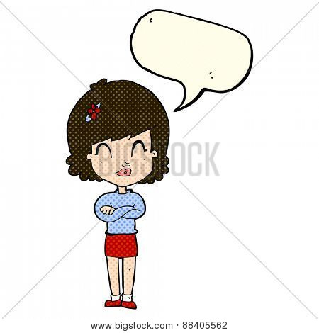 cartoon happy woman with folded arms with speech bubble