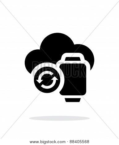 Smart watches sync with cloud simple icon on white background.