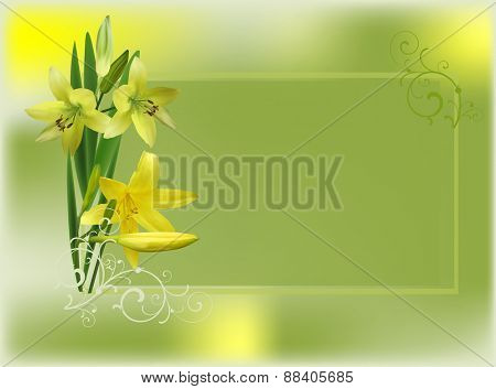 illustration with group of yellow lily flowers on green background