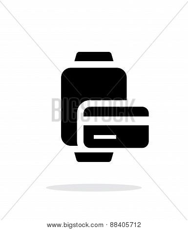 Payment card in smart watches simple icon on white background.
