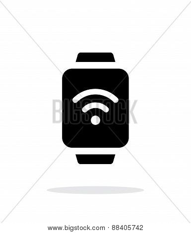 Wireless payment on smart watch simple icon on white background.