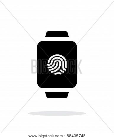 Fingerprint on smart watch simple icon on white background.