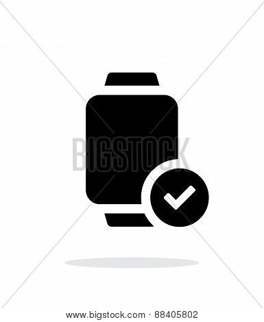 Accept sign on smart watch simple icon on white background.