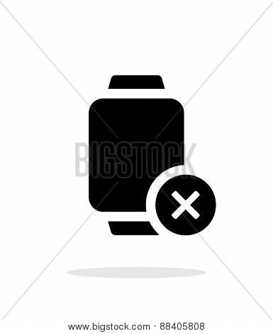 Cancel sign on smart watch simple icon on white background.