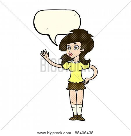 cartoon pretty woman waving for attention with speech bubble