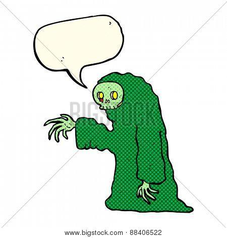 cartoon spooky halloween costume with speech bubble