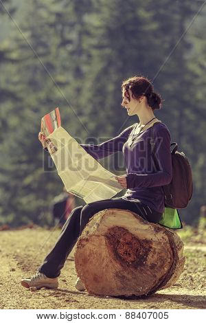 Lady Reading Travel Map