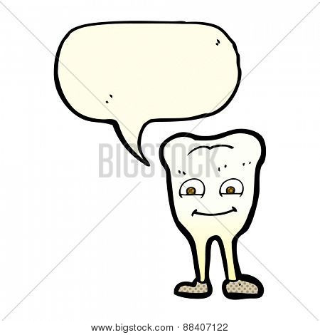 cartoon yellowing  tooth with speech bubble