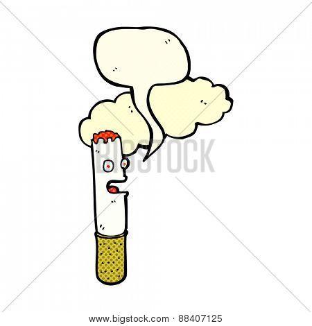 cartoon cigarette with speech bubble