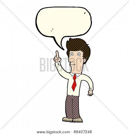 cartoon friendly man with idea with speech bubble