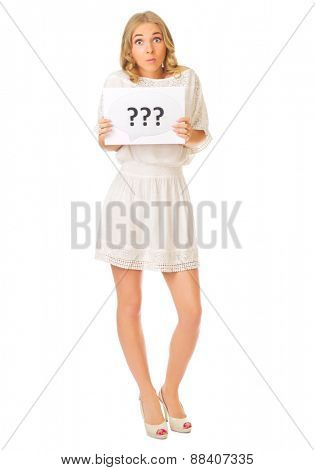 Young girl with question banner isolated