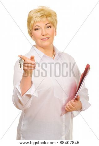 Senior woman with folder and keys isolated