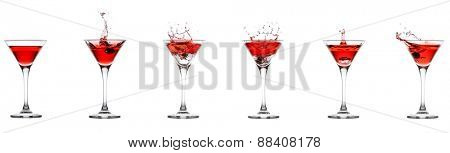 Red cocktail splash collection isolated on a white background