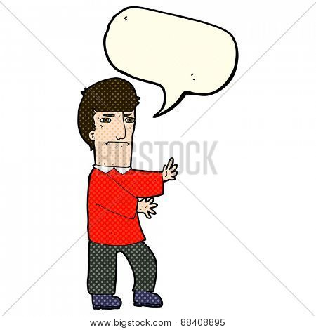 cartoon grumpy man with speech bubble
